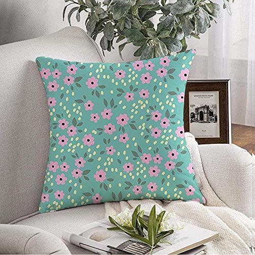 BONRI - Federa decorativa per cuscino con motivo floreale, colore giallo, piccolo, motivo floreale, colore rosa, verde natura, semplice margherita, 45,7 x 45,7 cm