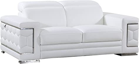 Blackjack Furniture The Usry Collection Genuine Italian Leather Upholstered Living Room Loveseat, White