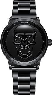 GIMTO Punk Vintage Women Skull Watch Stainless Steel Quartz Luxury Lady Casual Wristwatch
