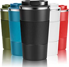Travel Mug Reusable Coffee Cups Thermal Insulated Vacuum Insulation Stainless Steel Bottle for Hot Cold Drinks (Black, 380ml)