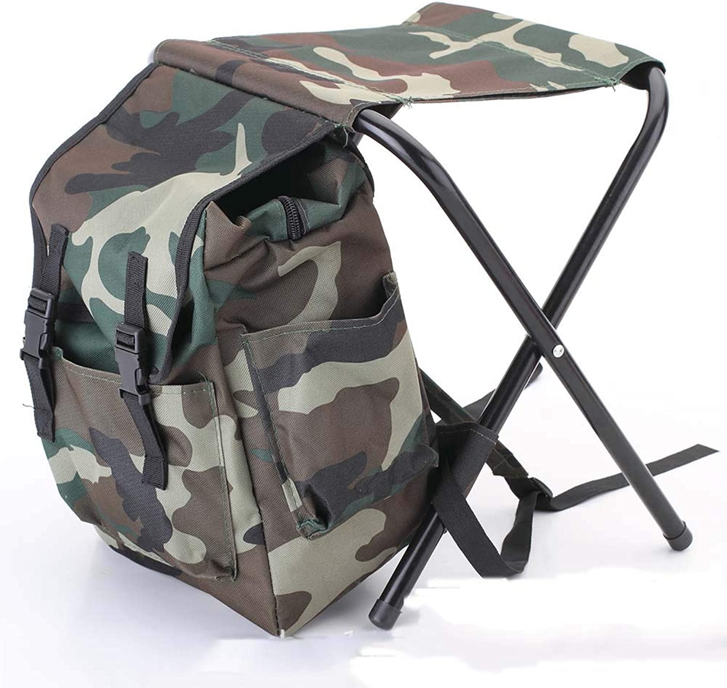 ZJING Outdoor Leisure Mountaineering Portable Backpack Stool Backpack Seat Integrated Chair