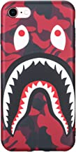 SDANDUN iPhone 7/8 Case Street Fashion Shark Face Design, Flexible Durable Full-Protective Back Case Cover for iPhone 7/8 4.7inch (Red/Shark)