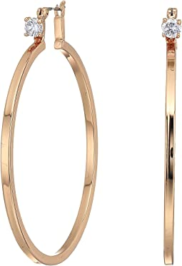 Rose Gold with Cubic Zirconia Stud Hoop Earrings