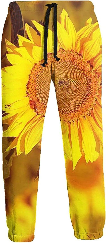Mens Elastic Waist Sweatpants Yellow Sunflower Joggers Sweatpants for Gym Training Sport Pants