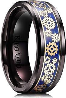 خاتم زفاف مقاس 8 ملم من التيتانيوم مع ترصيع من الالياف الكربونية من كينغ ويل للرجال