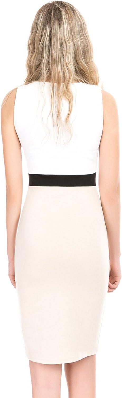 ZUUC Elegant Office Lady Stretch Bodycon Sleeveless Pencil Dress