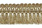 1A-Kurzwaren 16,40m Fransen-Borte 4,5cm breit Farbe: helles Lurex-Gold TSL-AA360-1-Lt.Gold