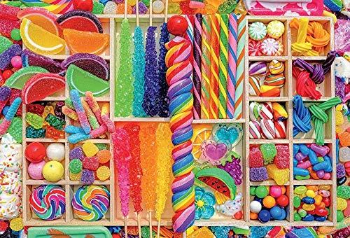 Zyysyzsh Puzzels 500 Stukjes Volwassen Houten Puzzels Classic Puzzel Vrije Tijd Creatieve Spelletjes,Kleurrijke Snoepjes