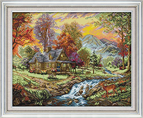 Cross Stitch Counted Kits Stamped Kit Cross-Stitching Pattern for Home Decor, 11CT Pre-Printed Fabric Embroidery Crafts Needlepoint Kit (Printed Kits,Holiday Villa)