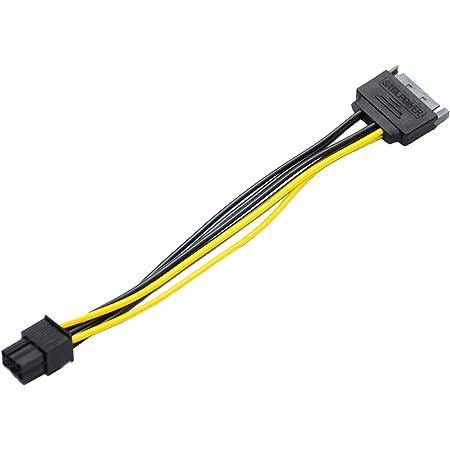 SATA電源 - VGA 6Pin 補助電源 変換ケーブル SATA 15ピン- PCI Expressカード6ピン グラフィックカード電源変換プラグ6ピン 20cm Cyberplugs
