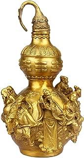 J.Mmiyi Feng Shui Adornos Wu Lou/Hu Lu Calabaza Estatua con Ocho Inmortales Tallados Cruzan El Patrón del Mar Escultura Decoración Regalo,Oro