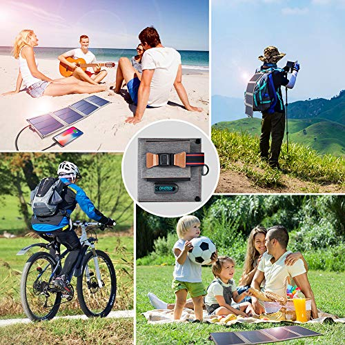 Solar Charger, CHOETECH 14W Waterproof Portable USB Outdoor Solar Panel Charger with 4 Foldable Solar Panel for…