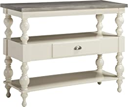 Ashley Furniture Signature Design - Fossil Ridge Console Sofa Table - 1-Drawer & 2-Shelves - White Finished Wood - Antique Gray Finished Metal
