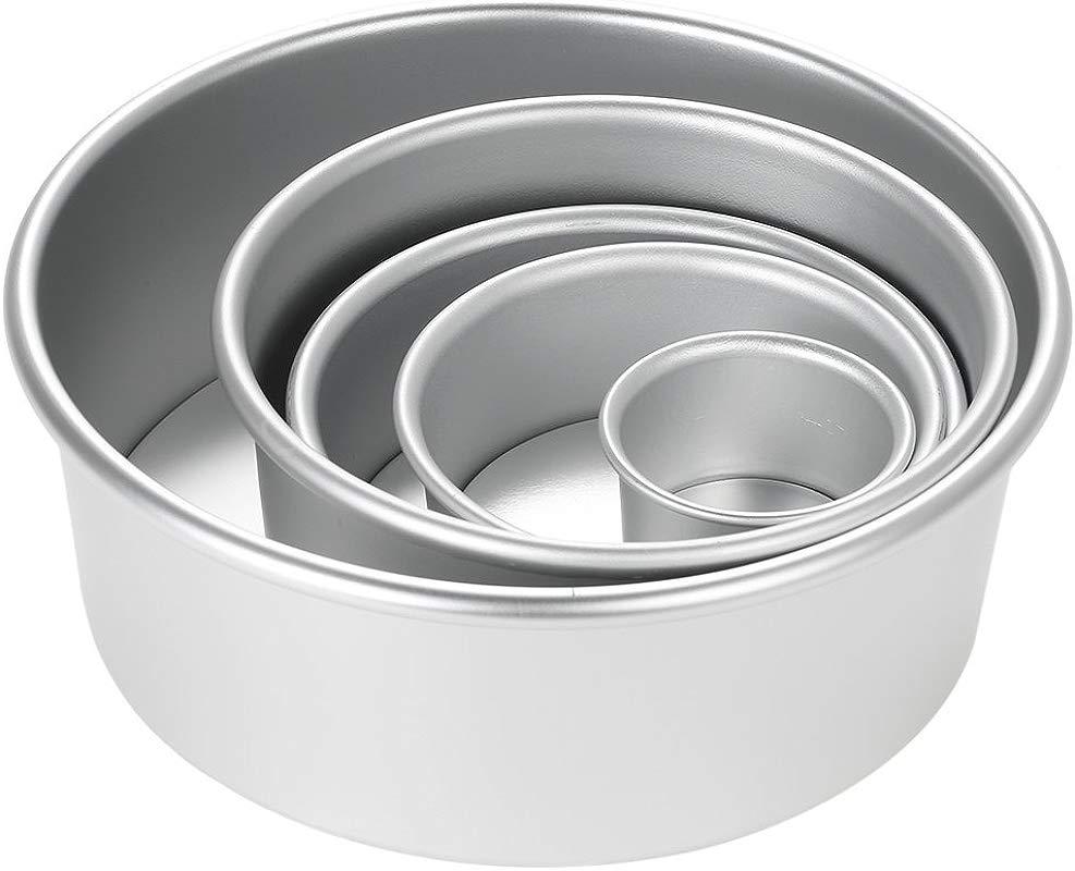 Blusea Cake Mould Aluminum Alloy Round Chiffon Cake Baking Pan Pudding Cheesecake Mold Set With Removable Bottom 5pcs Set