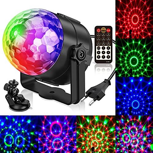 Lampe de Scène,Gvoo 5 Couleur Boule à Facette avec Télécommande LED 7 RGB avec Télécommande Jeux de Lumiere Commande Sonore Boule Disco pour Cadeau Scène Fête Soirée DJ Disco Bars Clubs Karaoké