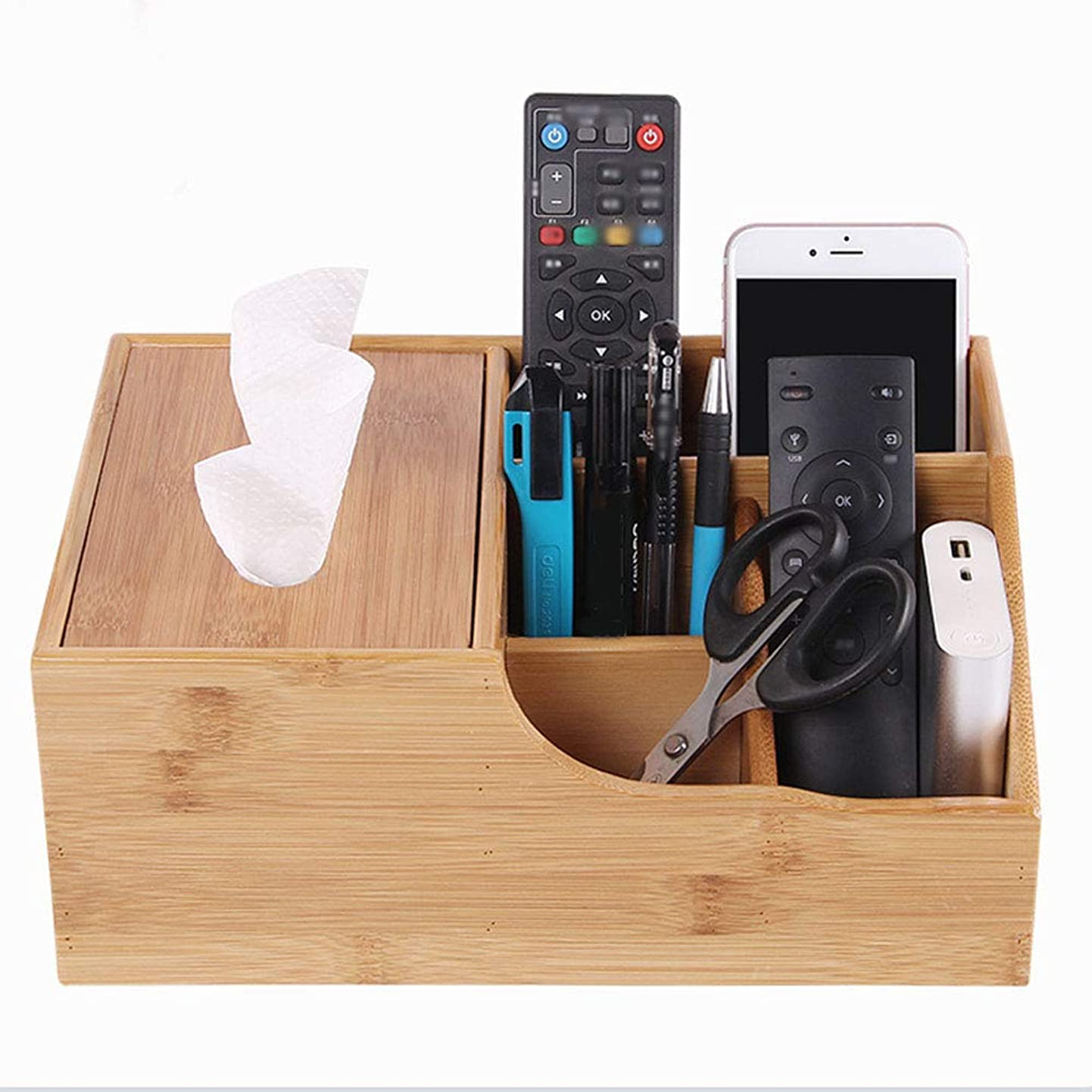 Wooden Remote Control Holder Caddy Box Desktop Organizer Stand Container Compartment Tissue Box Storage Case for Desk, Office Supplies, Home, End Table(Four Grid) qstsnazgson7