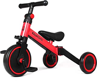 Kiwicool 3 in 1 Kids Tricycles for 1.5-4 Years Old Kids Trike 3 Wheel Bike Boys Girls 3 Wheels Toddler Tricycles(Red)