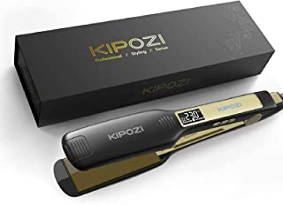 Professional Hair Straighteners Wide Plate Titanium Flat Iron with Digital LCD Display, Adjustable Temperature Settings Su...