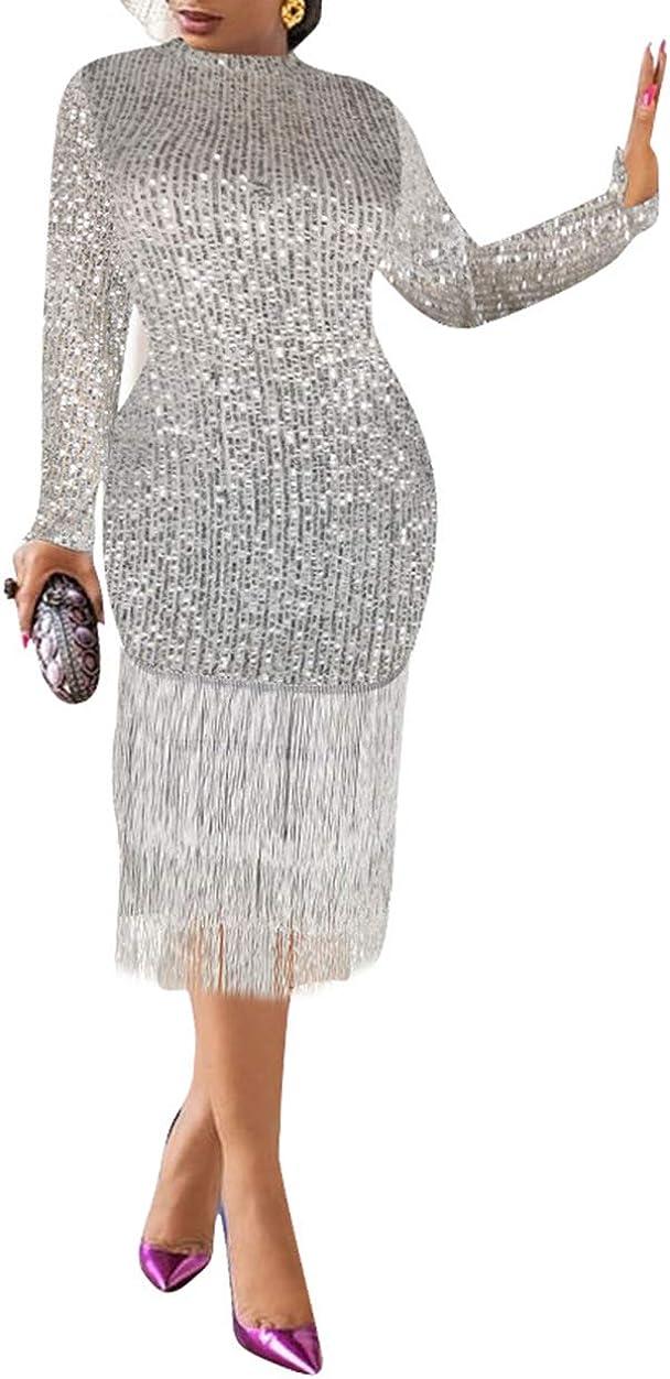 Rela Bota Women Sexy Sequins Glitter Long Sleeve Tassel Hem Bodycon Midi Dress Party Club Dresses