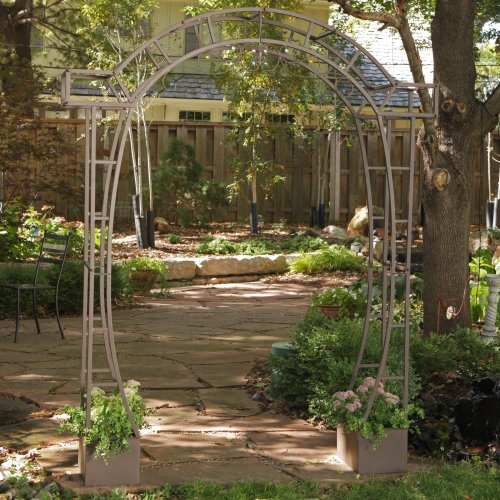 Coral Coast Jeweled Metal Arch Arbor with Planters