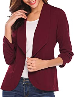 Dubocu Women's Fashion Ol Style Three Quarter Sleeve Blazer Elegant Slim Suit Coat
