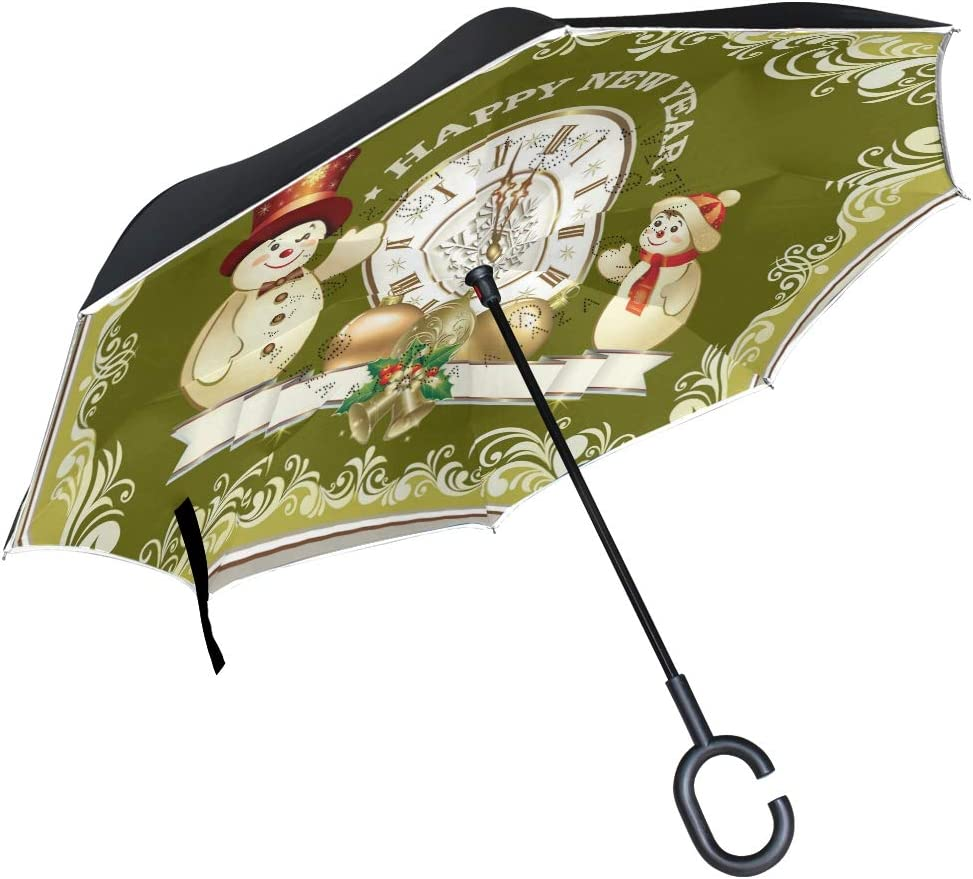 Direct sale of manufacturer Pfrewn Happy New Year Snowman Windproof Branded goods Inverted Umbrella Clock