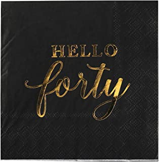 Andaz Press Black with Gold Scripted Hello Forty Saying Cocktail Napkins, Bulk 100-Pack Count 3-Ply Disposable Fun Beverag...