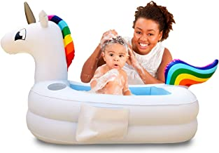 Plur Baby Inflatable Bath Tub and Portable Wash,Rainbow Unicorn for Infants 6 - 24 Months, Inflatable Buffet Cooler, Floating Ice Chest, Baby Shower and Decoration (Rainbow Unicorn)