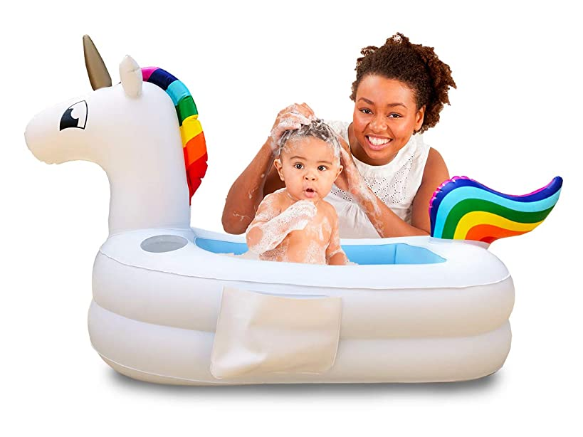 Plur Baby Inflatable Bath Tub and Portable Wash/Rainbow Unicorn for Infants 6-24 Months/Baby Shower Gift and Decoration (Rainbow Unicorn)