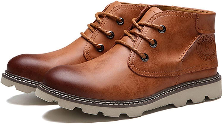FLYSXP Herren Freizeitschuhe Werkzeugschuhe Mode Stiefel Freizeitschuhe Schuhe schwarz schwarz braun 38-44 Meter Herren Lederstiefel (Farbe   braun, Größe   43 EU)  70% Rabatt