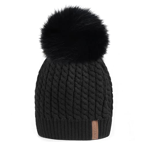 1e43dad0fda Winter Beanie Hats for Women FURTALK Womens Warm Knit Fur Bobble Pom Pom Hat