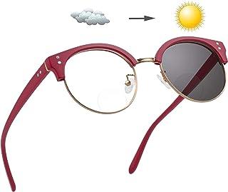 Bifocale leesbril, Photochromic leesbril, UV-bescherming Spring Hinged Zon lezers voor mannen en vrouwen Intelligent Color...