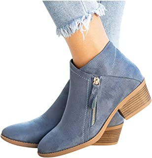 Padaleks Women's Casual Ankle Boots Slip On Chunky Block Round Toe Zipper Short Booties Non-Slip Waterproof Shoes