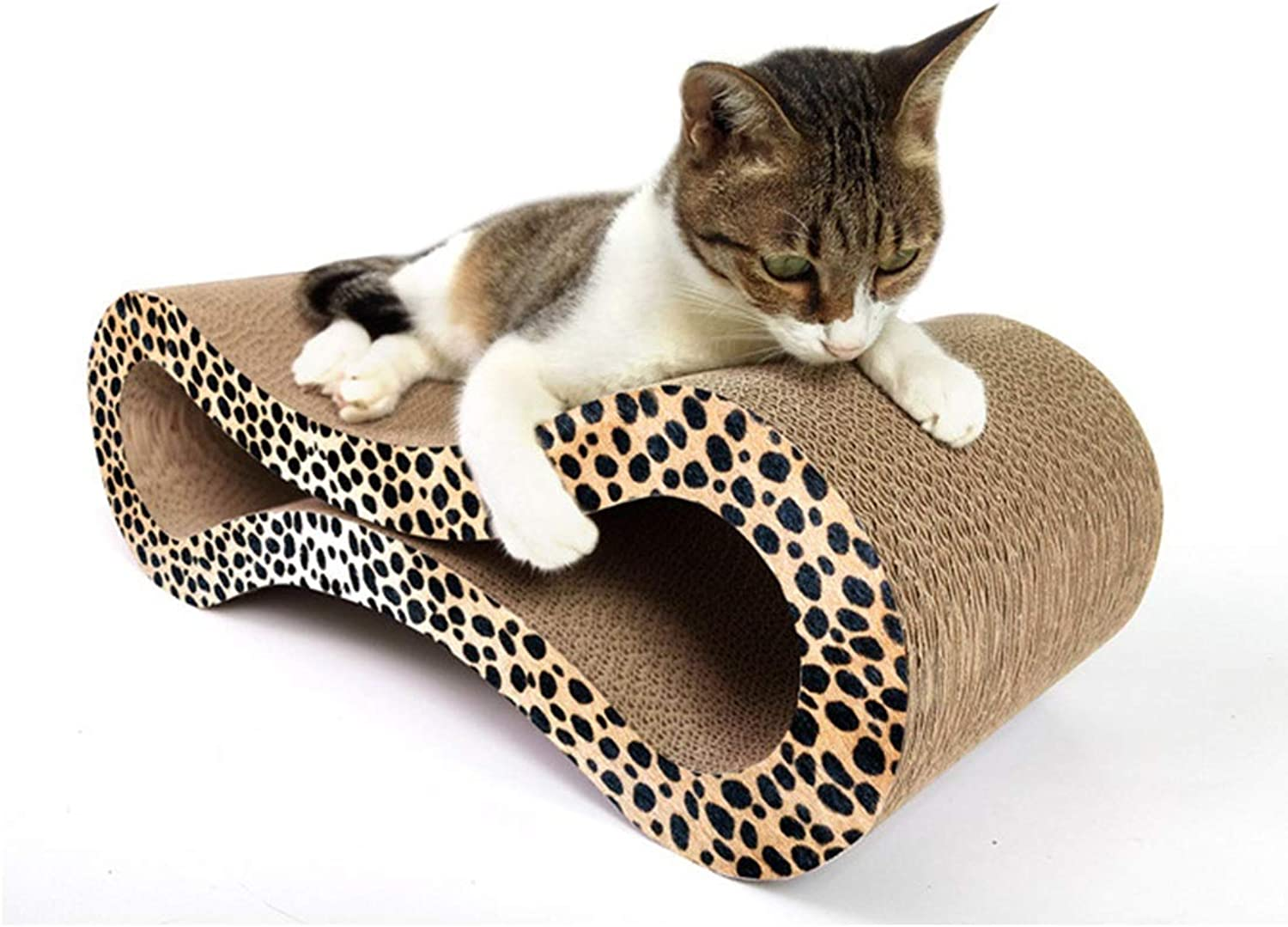 Hyue Corrugated Paper Cat Scratch Board 8Shaped Cat Litter Claw Toy Cat Pet Supplies Pet Toy Scratches (color   Leopard 8 Figure, Size   56X21.5X17.8CM)