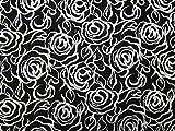 Brokatstoff mit Blumenmuster, Meterware, Schwarz /