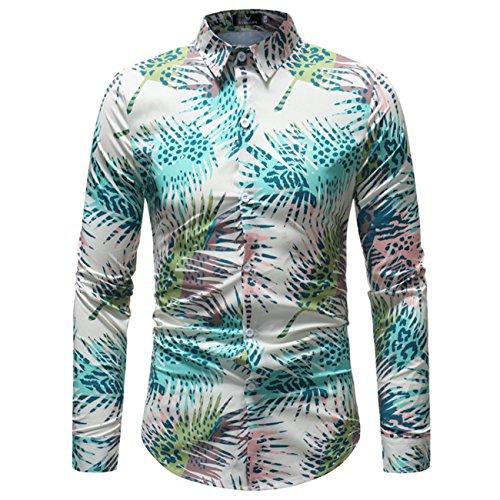 Heren bloemen bedrukt design lange mouwen naar beneden geknoopte overhemden
