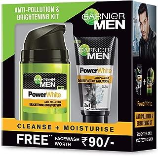 Garnier Men Anti-Pollution and Brightening Kit - Power white Moisturiser, 50g with Free Power white Double Action Facewash, 50g