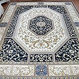 Lfixhssf Orientalischer traditioneller Teppich, klassisches Design, geometrisches Muster, Seidenteppich, lichtechter Baumwolltuch, Unterseite 1 cm dick, Lfixhssf, Gemischt, blau, 140*200cm