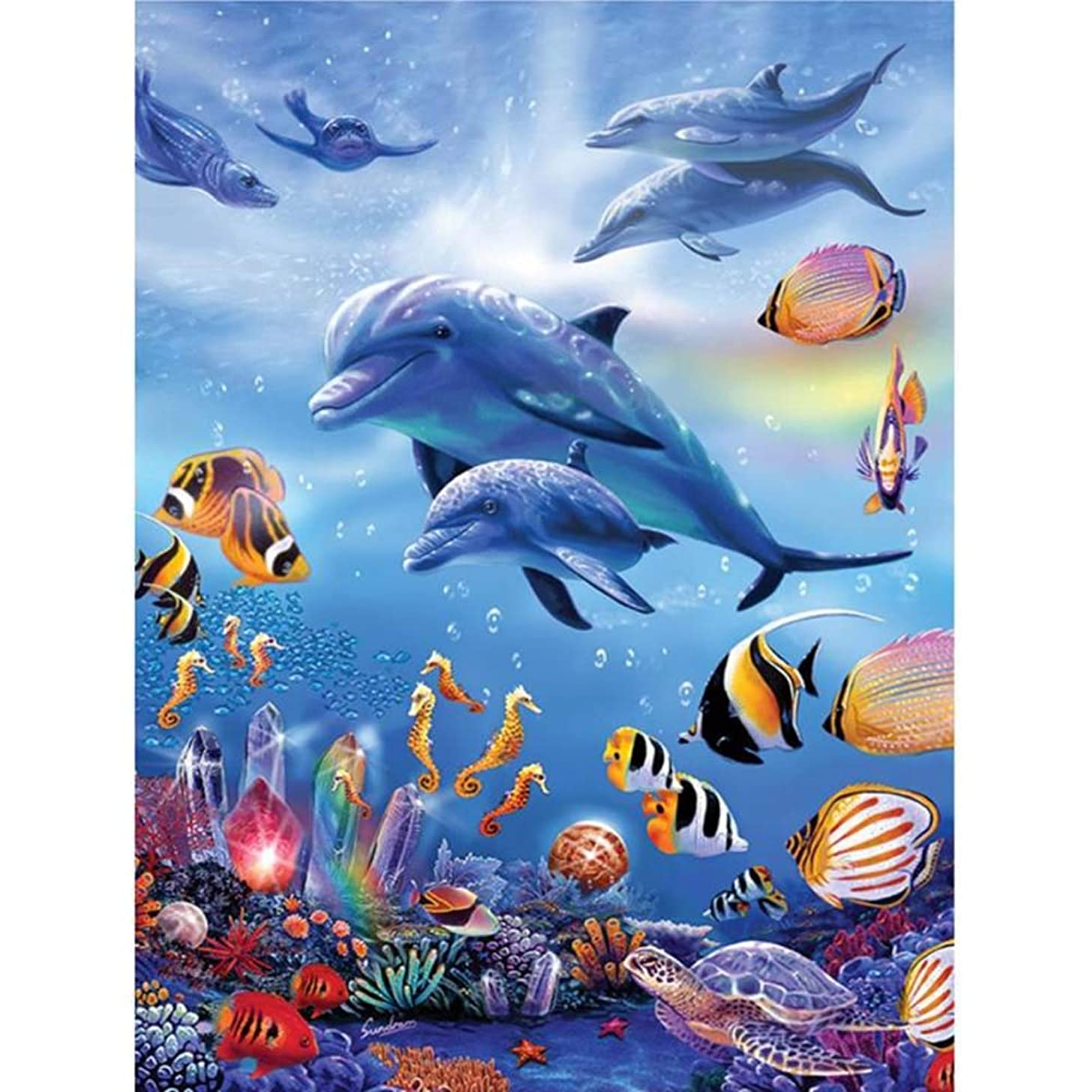 UPMALL DIY 5D Diamond Painting by Number Kits, Full Drill Crystal Rhinestone Embroidery Pictures Arts Craft for Home Wall Decoration Underwater World 11.81×15.75 Inches