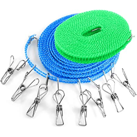 YuCool - 2 cordes à linges avec 8 pinces à linge - 4,9et 7,9m - Résistantes au vent - Pour l'extérieur, l'intérieur, la maison, le voyage, le camping - Pour sécher du linge