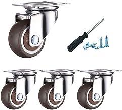 Plaatzwenkwielen, zwenkwiel met remmen, zacht rubberen meubelzwenkwiel, 360 & deg;Montage bovenplaat, laadvermogen 120 k...