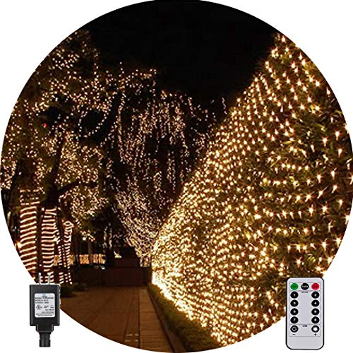Net String Light Outdoor String Light Garden Tree Mesh Light Twinkle Light 9.8ft x 6.6ft 200LED 8Mode for Tree wrap Lawn backyard Xmas Thanksgiving Decor, Connectable(Warm White)