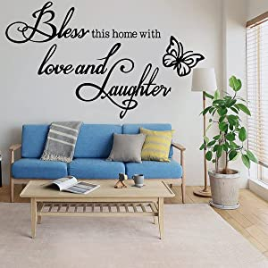 Wall Decal Wall Sticker Inspirational Quotes Bless This Home with Love and Laughter Wall Decal Wall Stickers for Bedroom Living Room Nursey Classroom Home Decor.