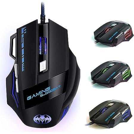 Ratón Gaming, iAmotus Ratón para Juegos 7200 dpi Ajustable Gaming Mouse Óptico con Cable y 7 Botón, Ratón Ergonómico Retroiluminación RGB para Windows Vista/ Linux/ Mac OS/ PC/ Computadora Portátil