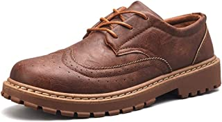 shangruiqi Men's Business Oxford Casual Classic Carvings British Style Brogue Shoes Abrasion Resistant (Color : Brown, Size : 6 UK)