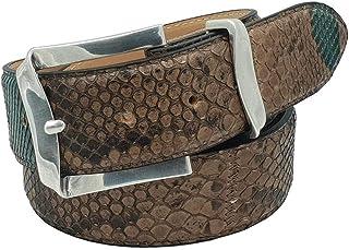 ESPERANTO Cintura in Pitone unisex foderata in vera pelle Cuoio nabuc con Fibbia colore Argento satinato- 4 cm lavorazione...