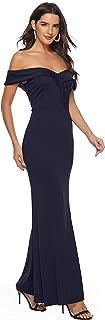 JFseason Women's Off Shoulder V Neck Side Split Maxi Formal Evening Club Dresses