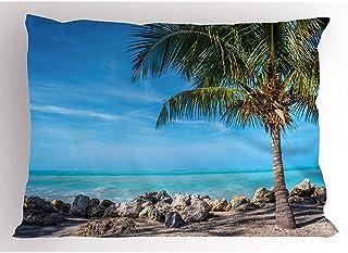 4 Piezas 18X18 Pulgadas Funda De Almohada De Playa De Florida,Vista Panorámica De La Costa En Piedras Y Guijarros De Key West,Funda De Almohada Impresa De Tamaño Estándar para Decoración del Hogar