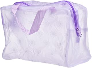 Start_wuvi Women Exquisite Fashion Floral Transparent Waterproof Portable Zipper Cosmetic Bag Travel Wash Toothbrush Pouch Organizer Bag Simple And Practical Must-Have Most Popular (Purple)