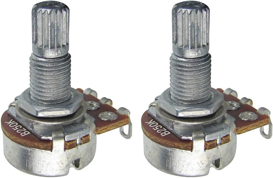 IKN B250K Mini potenciómetro de 18 mm de largo eje dividido lineal cónico bajo eléctrico Macetas de control con bayoneta, paquete de 2 piezas